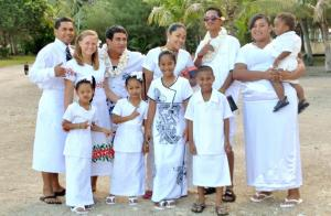 Jacquie, one of the new WorldTeachers, with members of her group on White Sunday.