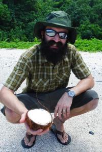 """The Beard holding what we refer to as """"the angel food coconut."""" After the coconut begins to sprout, the inside turns into this sponge-cake type things that is super yummy."""