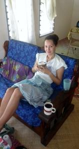 Eating coconut rice (laisa popo) and drinking  hot cocoa (koko samoa) on a lazy Saturday.