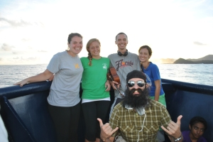 Boat ride to Tutuila with our favorite WorldTeachers: Jessie, Jacquie, Garrett, me, the Beard