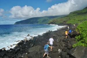 The palagi navigate the rocks