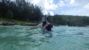 Kele tried to follow Wes snorkeling